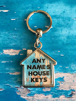 Personalised Keyring - House - Home - Office - Keys - Fob - ANY NAME / TEXT
