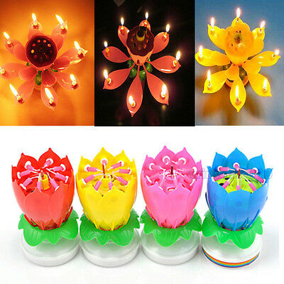 Musical Rotating Happy Birthday Magical Blossom Lotus Candle Amazing Flower Gift