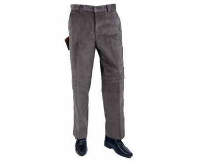 FARAH CLASSIC 813270-GP Mens Corduroy Trousers Flat Front Straight Olive