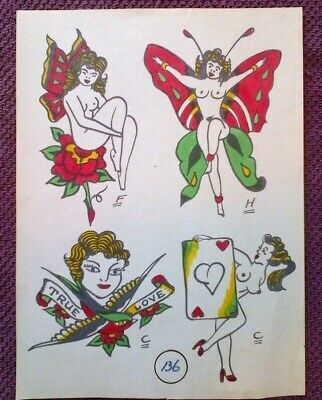 TATTOO PETER -TRUE LOVE, ORIGINAL VINTAGE MID-1900s CLASSIC TATTOO FLASH SHEET