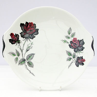 Vintage Royal Albert Masquerade Bone China Cake Plate Dark Red Black Roses