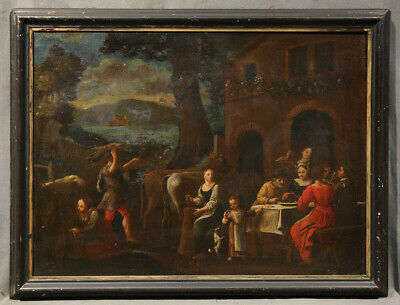 Early 19th Century European Oil Painting of People Eating Outside
