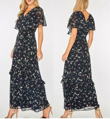 d04b7e31c8 Ladies Dorothy Perkins Maxi Dress Floral Print Ditsy Frill Cape Sleeve Navy