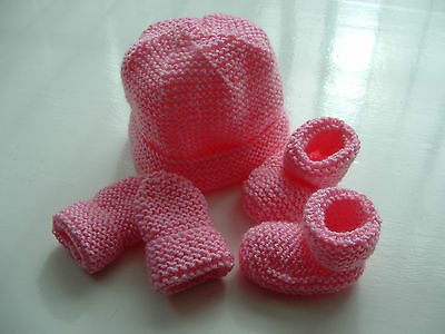 Baby Girls Hand Knitted Hat, Mittens, Bootees Set, Pink, 0-3 M, New