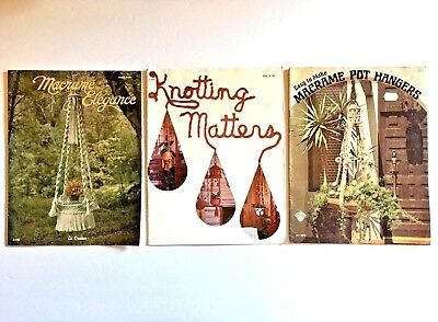 Vintage Macrame Pattern Book Lot Craft Instructions Basics Art Pot Hangers Owl