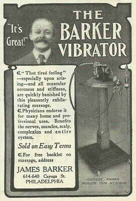 1905 Barker Vibrator Medical Device Quackery Advertising Print Ad