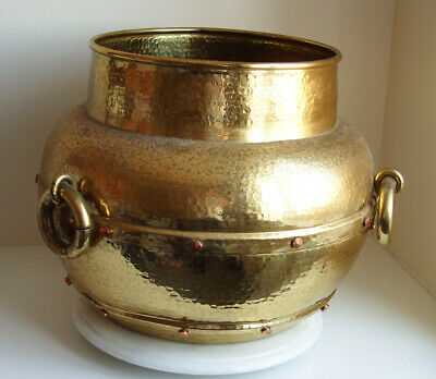 Antique very Large  Brass Cauldron with Copper Rivets and ring handles 33cm Tall