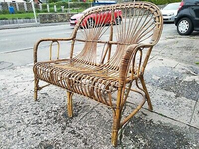 Vintage Antique Wicker Cane Bamboo Two Seater Settee Chair
