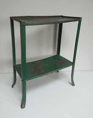 ANTIQUE SOLID chippy metal green industrial SIDE HALL CONSOLE TABLE TABLE DESK