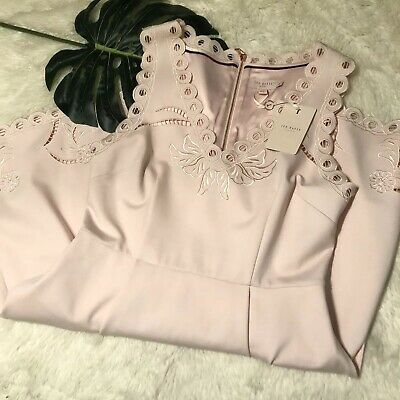 7ad3a873034c NEW TED BAKER London Emalise Pink Embroidered Skater Dress TB 4 US ...