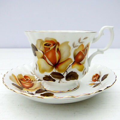 Vintage Staffordshire Bone China Tea Cup Saucer Duo Roses Floral