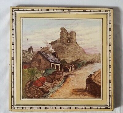 Charming Criccieth Castle Landscape Scene Minton Large Tile, Welsh Interest