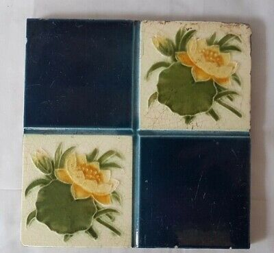 Floral Antique Art Nouveau English Quatrefoil 6 Inch Tile