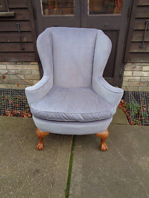 Late Victorian Wing Chair On Carved Cabriole Pale Walnut  Legs