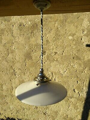 VINTAGE French milk glass shade LIGHT FITTING, chrome gallery, UK rewired