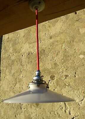 VINTAGE French milk glass shade LIGHT FITTING, chrome gallery, rewired, unusual