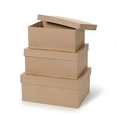 Darice Paper Mache Box Set,  3 Piece Set, 8 in, 9 in, 10 in with Lids