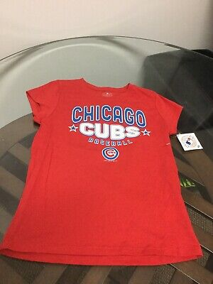NWT Chicago Cubs Baseball Red Short Sleeve Shirt Girls Large 14/16 New W/ Tags