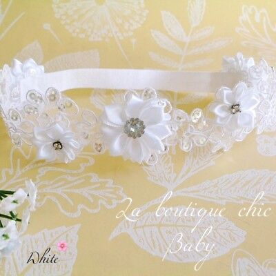 Baby Girl Christening / Baptism Headband White Lace  Flower girl, Wedding Party