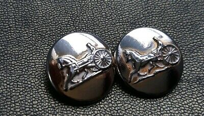 Set of 2 Vintage Celine Couture Horse & Carriage Brass Buttons -Made In Paris.