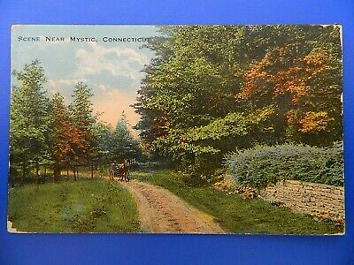Vintage Post Card with Stamp 1917 SCENE NEAR MYSTIC CONNECTICUT   #189