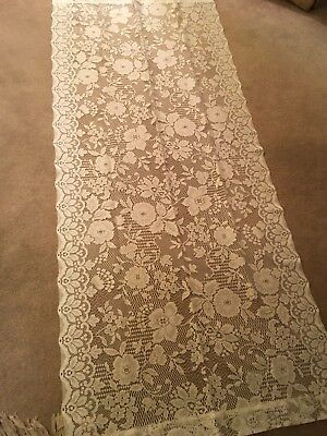 """Lace 35""""Wx 83"""" L  crocheted White DOWNTON ABBEY Look Window Panel wedding arch"""