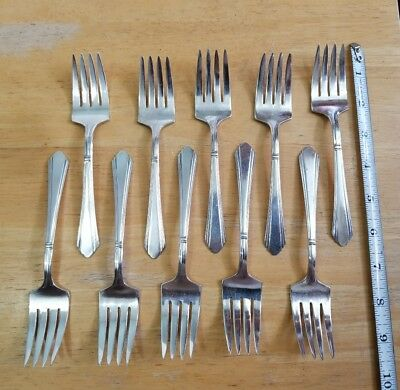 Lot Of 10 Art Deco Vintage 1933 Wilshire Pattern  Silverplated Salad Forks