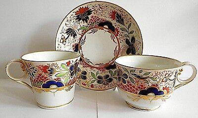 Early 19Th C Chamberlains Worcester Porcelain Teacup Coffee Cup And Saucer Trio