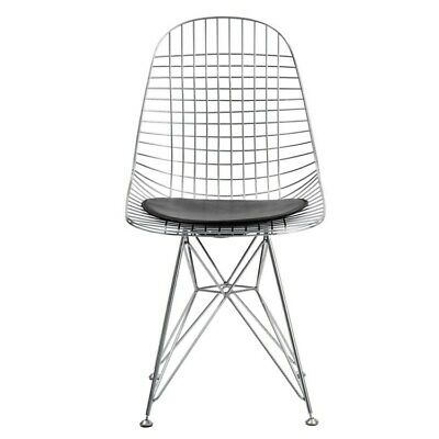 Eames Style Mid-Century Wire Base Side Chair - Black