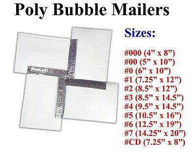 Poly Bubble Mailers Padded Envelope #000 0 CD 1 2 3 4 5 6 7 White Bags All Sizes