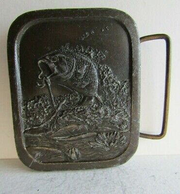 Vintage Bass Fish Fishing Indiana Metal Craft 1976 Belt Buckle