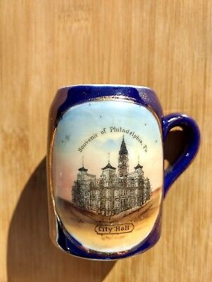 Philadelphia PA Cobalt Blue Porcelain Cup City Hall Mug Vintage made in Germany