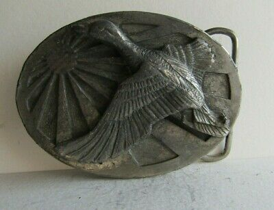 Vintage 1986 Pewter Duck/Goose Sunburst Belt Buckle by Siskiyou Buckle Co.