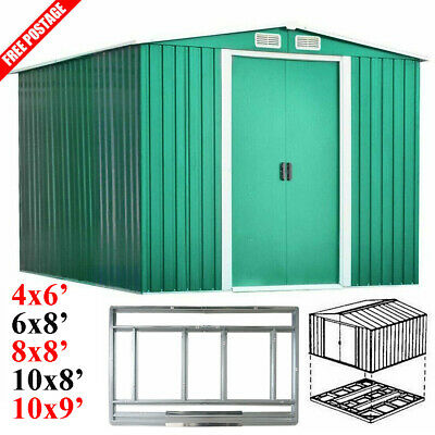 New Garden Tool Shed Metal Apex Roof Outdoor Storage House With Free Foundation