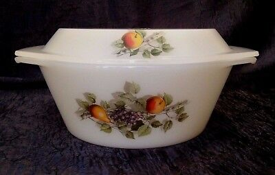 Vintage-Retro JG Durand ARCOPAL; Fruits-of-France 8-IN ROUND LIDDED-Casserole