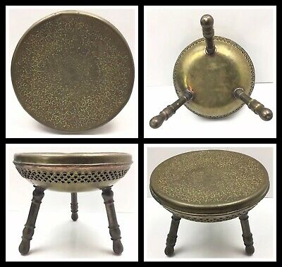 Antique Vintage Persian Middle Eastern Brass Foot Stool Brazier Hand Etched