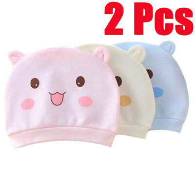2Pcs Cute Cotton Cartoon Newborn Smiley Caps Infant Baby Lovely Baby Hat Kids