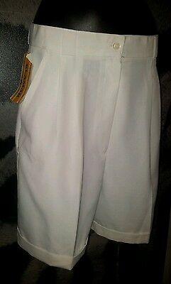 Retro High Waisted Shorts Nwt Size 8 White Roll Cuff Work School Bowls Vintage