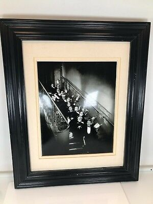 Black and White Photo Of Waiters On Stairs and Frame (No Glass)
