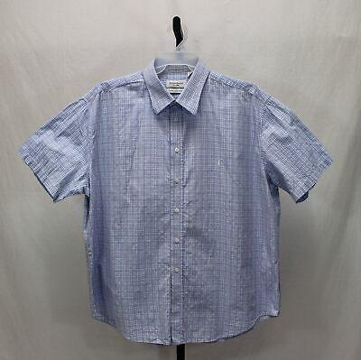 Yves Saint Laurent Blue White Plaid Short Sleeve Cotton Casual Shirt Size XXL