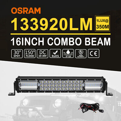16INCH LED Light Bar Triple Row Combo Beam Work Driving Off Road 4WD SUV+ Wiring