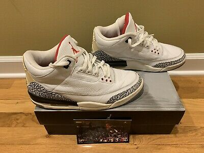 on sale 596dd 7a7b0 MENS AIR JORDAN III 3 White Cement Size 11 Retro 2003