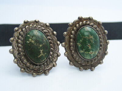 Antique Chinese Emboss Silver & Green Gemstone Cabochon Earrings Screw Backs