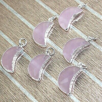 Half Moon Pink Chalcedony Silver Plated Designer Charms Pendant 1Pcs A4169
