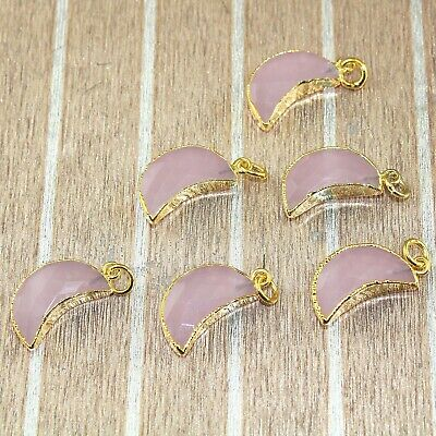 Half Moon Faceted Pink Chalcedony Gold Plated Designer Charms Pendant 1Pcs A4162