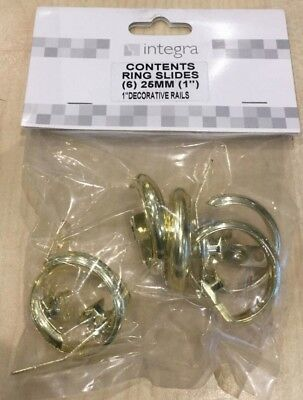 Integra Goldenglide rings for 25mm Corded extendable Brass finish Curtain Pole