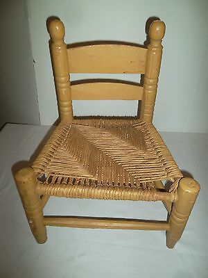 Vintage Childs Wood Chair Rush Seat Wicker 40s Folk Art Kids Doll Chair Small