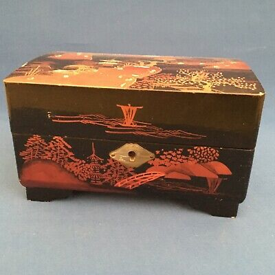 Vintage Japanese Mount Fuji red lacquered musical box with mother of pearl