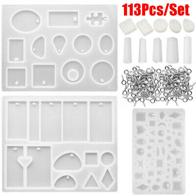 113Pcs Resin Casting Molds Jewelry Making Silicone Mould Pendant Craft Kit DIY