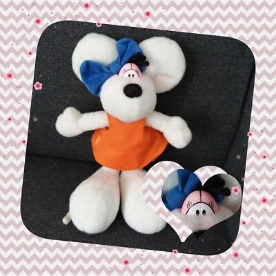 Peluche Doudou Diddl Diddlina robe orange, noeud bleu TBE 35cm